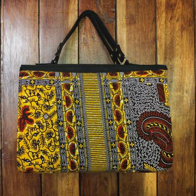 Cotton handle handbag, 'Handy Box' - Printed Cotton Handle Handbag Crafted in Ghana