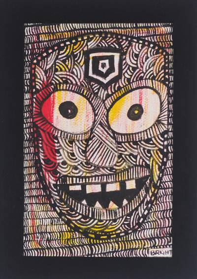 'King Has Spoken' - Signed Colorful Folk Art Painting of a Face from Ghana