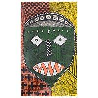 'Protesting Mask' - Signed Painting of a Green African Mask from Ghana