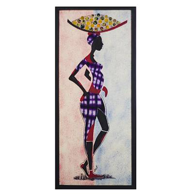 Batik cotton wall art, 'Orange Peddler' - Batik Cotton Wall Art of an Orange Seller from Ghana