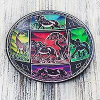 Soapstone decorative bowl, 'Life of Africa' - Animal-Themed Soapstone Decorative Bowl from Ghana
