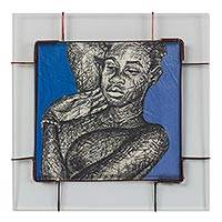 'Innocent Whisperer' - Glass Framed Painting of a Sleeping Nude Woman from Ghana