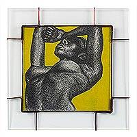 'Peaceful' - Glass Framed Artistic Nude Painting on Yellow from Ghana