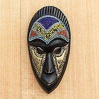 African recycled glass beaded wood mask, 'Pleasant Face' - African Recycled Glass Beaded Wood Mask from Ghana