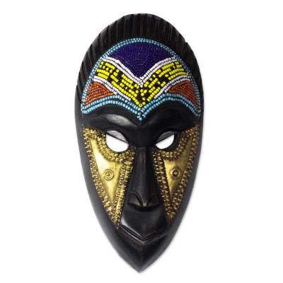 African Recycled Glass Beaded Wood Mask from Ghana