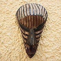 African wood mask, 'Rustic Stripes'
