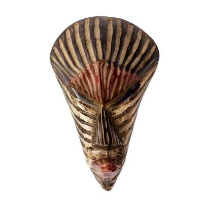 African wood mask, 'Rustic Stripes' - Rustic Striped African Wood Mask from Ghana