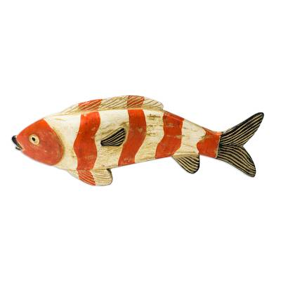 Wood sculpture, 'Striped Fish' - Rustic Sese Wood Sculpture of a Striped Fish from Ghana
