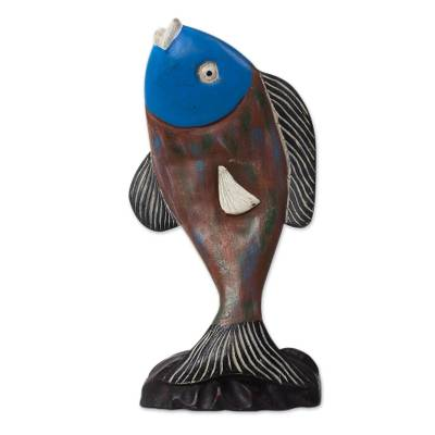 Hand-Carved Rustic Sese Wood Fish Sculpture from Ghana
