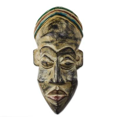 African Wood Mask with a Distressed Finish from Ghana