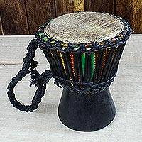 Wood miniature decorative djembe drum, 'African Drum' - Wood Miniature Decorative Djembe Drum with Kente Fabric