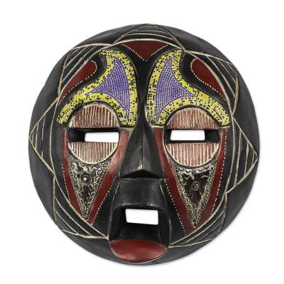 African Recycled Plastic Beaded Wood Mask from Ghana