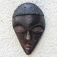 African wood mask, 'City Wanderer' - Rustic Sese Wood Africam Mask Crafted in Ghana
