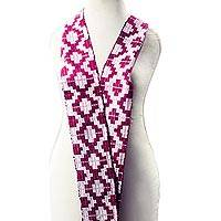 Rayon and cotton blend kente scarf, 'Mulberry Royalty' (4 inch) - Geometric Rayon Blend Kente Scarf in Mulberry (4 In.)