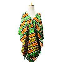 Rayon and cotton blend kente shawl, 'Royalty of Africa' - Multicolored Rayon and Cotton Blend Kente Shawl from Ghana