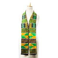 Rayon and cotton blend kente scarf, 'Pride of Africa' - Tri-Color Rayon and Cotton Kente Blend Scarf from Ghana