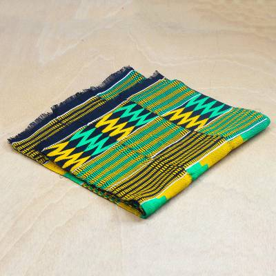 Rayon and cotton blend kente shawl, 'Pride of Africa' - Zigzag Pattern Rayon and Cotton Blend Kente Shawl from Ghana