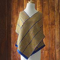 Rayon and cotton blend kente shawl, 'African Sunshine' (14 inch) - Rayon and Cotton Blend Kente Shawl in Maize (14 Inch)