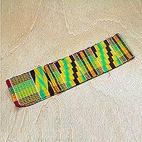 Rayon and cotton blend kente scarf, 'African Colors' - Colorful Rayon and Cotton Blend Kente Scarf from Ghana