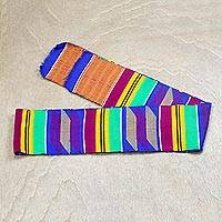 Rayon and cotton blend kente scarf, 'Vibrant Africa' - Vibrant Rayon and Cotton Blend Kente Scarf from Africa