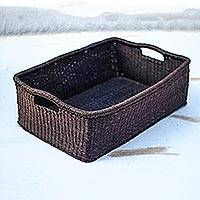 Raffia basket, 'Traditional Holder' - Handwoven Rectangular Raffia Decorative Basket from Ghana