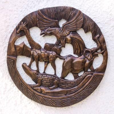 Wood relief panel, 'Circle of Life' - Circular Animal-Themed Wood Relief Panel from Ghana