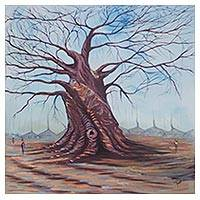 'Baobab Tree' - Signed Impressionist Painting of a Baobab Tree from Ghana