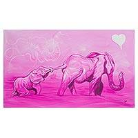 'Sensitivity I' - Expressionist Painting of Two Elephants in Pink from Ghana