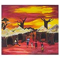 'The Village Life' - Signed Expressionist Village Scene Painting in Red