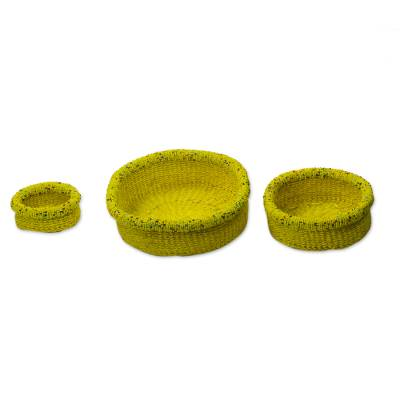 Raffia and Recycled Plastic Decorative Baskets (Set of 3)