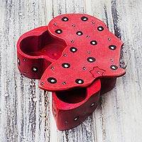 Soapstone decorative box, 'Red Africa' - Africa-Shaped Soapstone Decorative Box in Red from Ghana