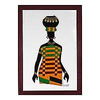 'Ama with Pot in Kente' - Kente Cotton Accented Painting of an African Woman