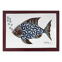 'Fish in Blue' - Modern Fish Painting with Printed Cotton Accent in Blue