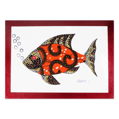Cotton Accented Fish Painting in Saffron from Ghana