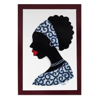 'Mansah in Blue' - Signed African Woman Painting in Blue from Ghana