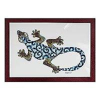'Wall Gecko in Blue' - Modern Gecko Painting with Printed Cotton Accent in Blue