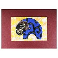 'Blue Elephant' - Modern Elephant Painting with Printed Cotton Accent in Blue