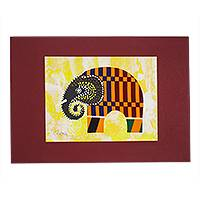 'Kente Elephant' - Elephant Painting with Kente Cloth Cotton Accent from Ghana