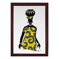 'Ama with Pot in Yellow' - Yellow Cotton Accented Painting of an African Woman