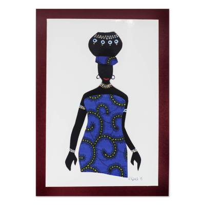 'Ama with Pot in Blue' - Blue Cotton Accented Painting of an African Woman from Ghana
