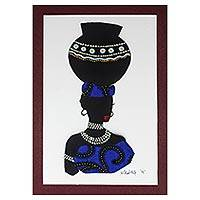 'Yaa in Blue' - Painting of an African Woman with Blue Cotton Accent