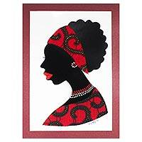 'Mansah in Red' - Signed African Woman Painting in Red from Ghana