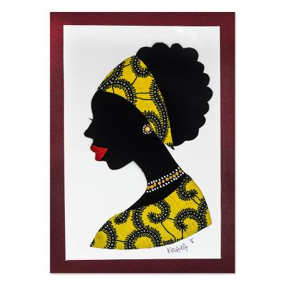 'Mansah in Yellow' - Signed African Woman Painting in Yellow from Ghana
