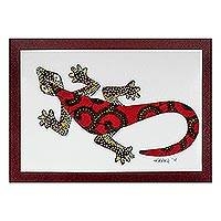 'Wall Gecko in Red' - Modern Gecko Painting with Printed Cotton Accent in Red