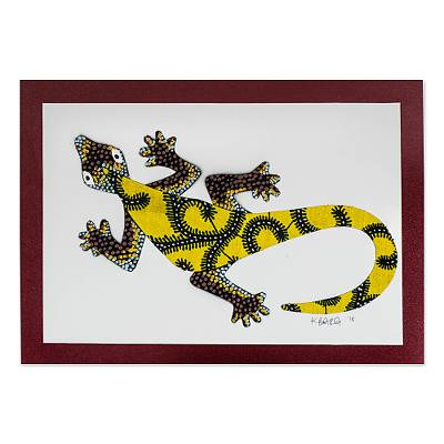 'Wall Gecko in Yellow' - Modern Gecko Painting with Printed Cotton Accent in Yellow