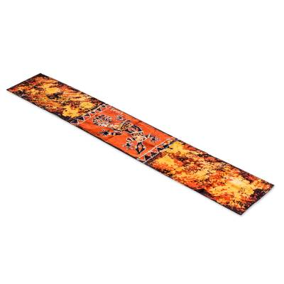 Batik cotton table runner, Delightful Gecko