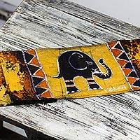 Batik cotton table runner, 'Daffodil Elephant' - Elephant-Themed Batik Cotton Table Runner from Ghana
