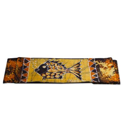 Fish-Themed Batik Cotton Table Runner from Ghana