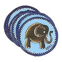 Hand painted cotton coasters, 'Blue Elephant' (set of 6)
