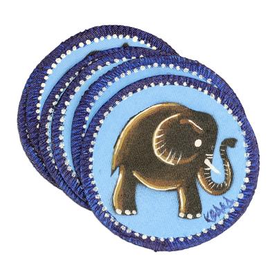 Hand painted cotton coasters, 'Blue Elephant' (set of 6) - Blue Cotton Elephant Coasters from Ghana (Set of 6)